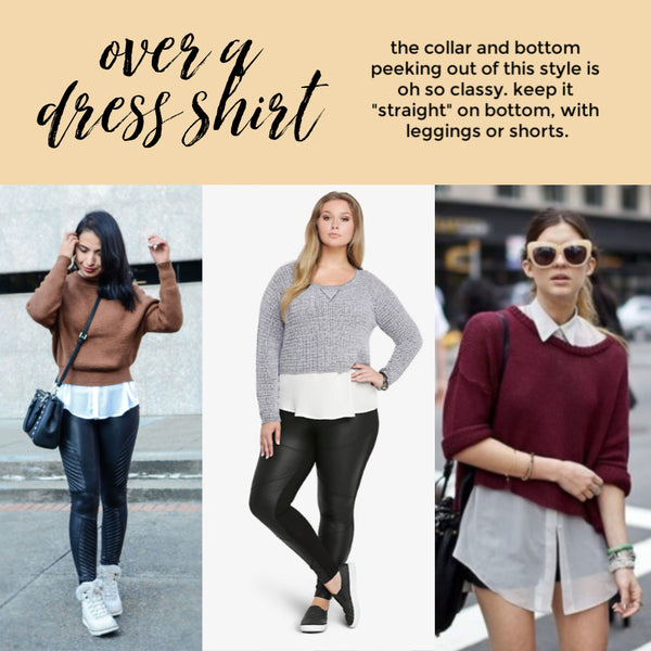 how to style cropped sweaters over dress shirt Friday apparel fashion outfits dressy work