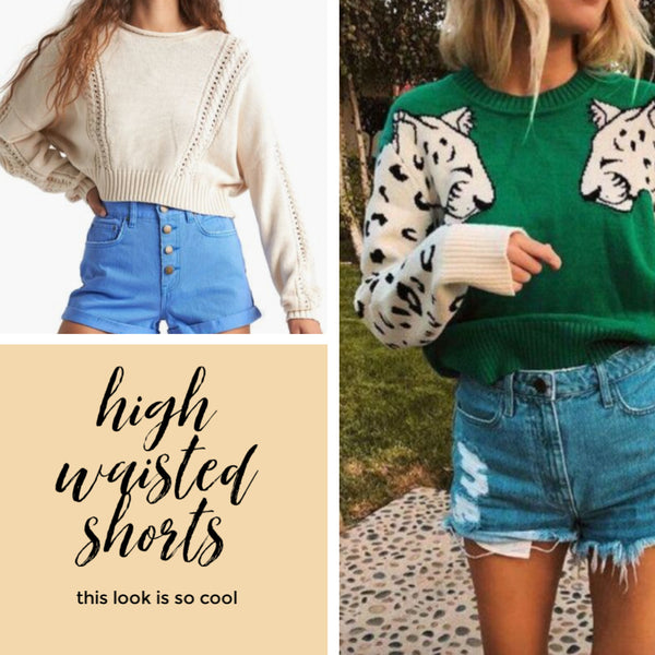 how to style cropped sweaters high waisted shorts Friday apparel fashion blog