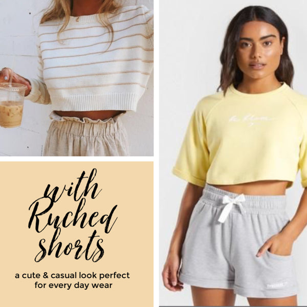 Friday apparel how to style cropped sweaters ruched shorts paperbag waist