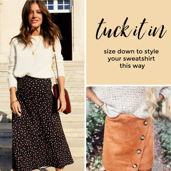 how to style sweater and skirts tuck in the Friday blog Friday apparel