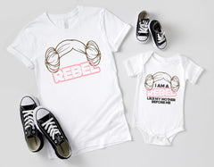 Princess Leia organa rebel buns hair matching mommy and me onesies shirts Star Wars women may the 4th Friday apparel