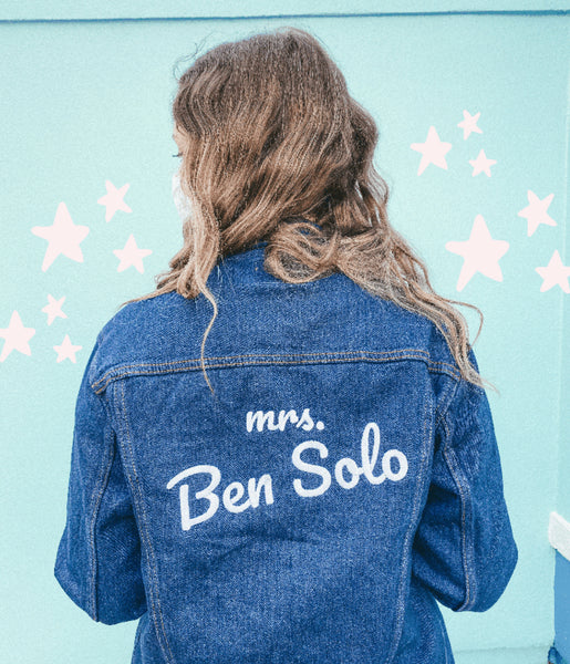 mrs Ben Solo denim jacket Star Wars movies Adam driver Kylo Ren the Friday blog Friday apparel shop galaxy's edge outfit