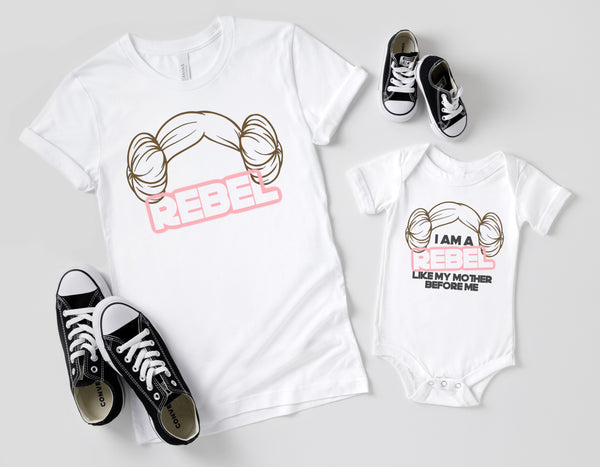 Leia Buns Rebel Mommy and Me Shirts