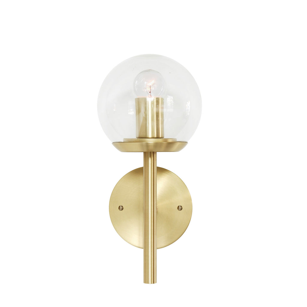 "Cedar and Moss. Athena 6"" Wall Sconce. Shown in Brass finish with Clear glass. (G16.5 light bulb shown, not included)."