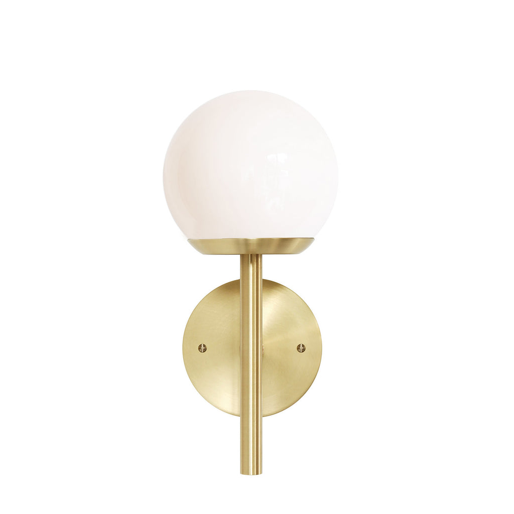 "Cedar and Moss. Athena 6"" Wall Sconce. Shown in Brass finish with Opal glass. (G16.5 light bulb shown, not included)."
