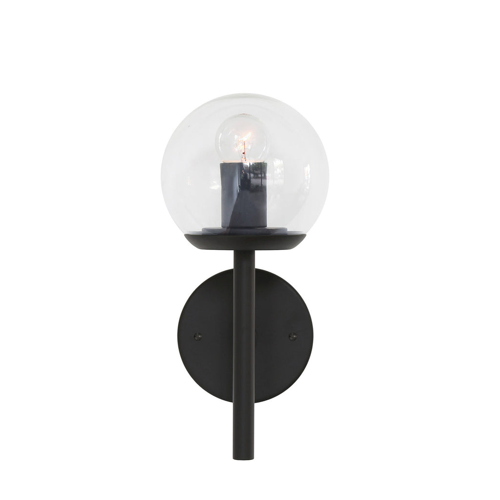 "Cedar and Moss. Athena 6"" Wall Sconce. Matte Black finish with Clear glass. (G16.5 light bulb shown, not included)."