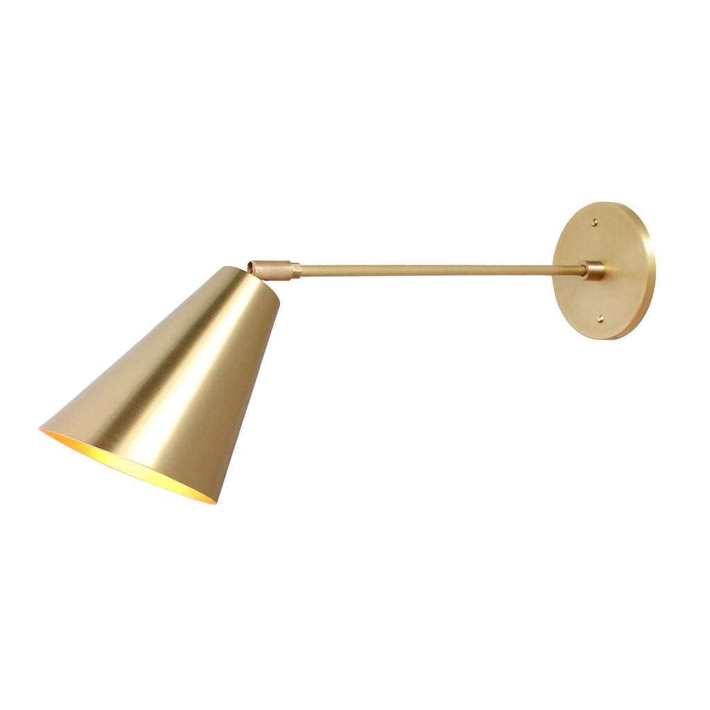 "Tilt Cone. Shown in Brass finish with 12"" arm. Cedar and Moss."