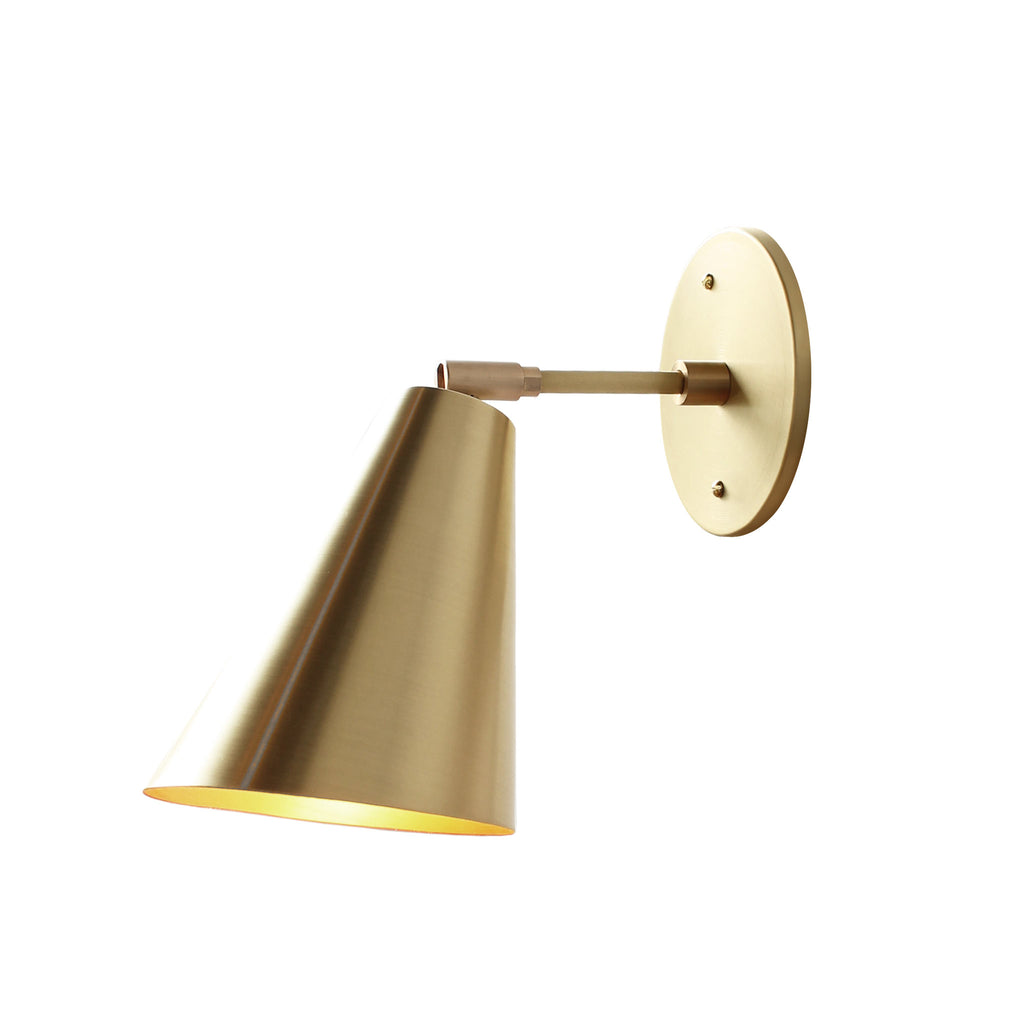 "Tilt Cone. Shown in Brass finish with 3"" arm. Cedar and Moss."