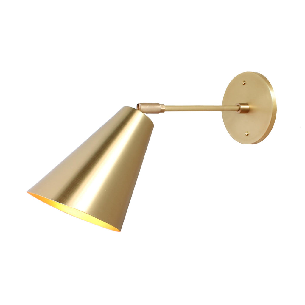 "Cedar and Moss. Tilt Cone. Shown in Brass finish with 6"" arm."
