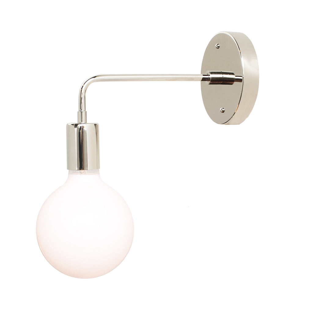 Cedar and Moss. Vista Long Sconce. Shown in Polished Nickel Finish. (G40 light bulb shown, not included).
