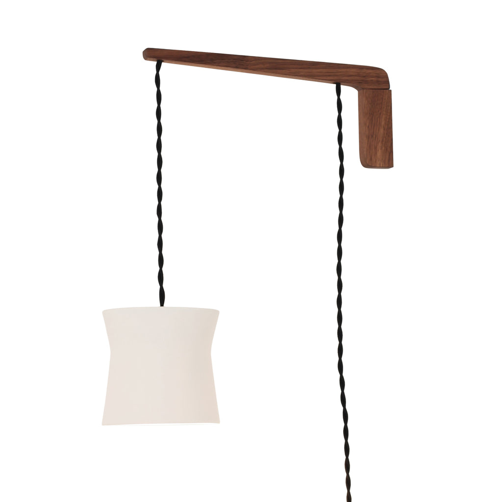 Cedar and Moss. Wyatt Swing Lighting Fixture. Shown with Walnut Arm and Black Twisted Cord.
