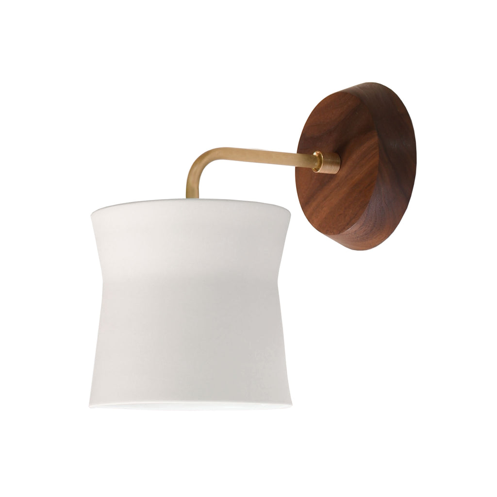 Cedar and Moss. Wyatt Sconce. Shown with Walnut Wood Canopy and Brass Finish.