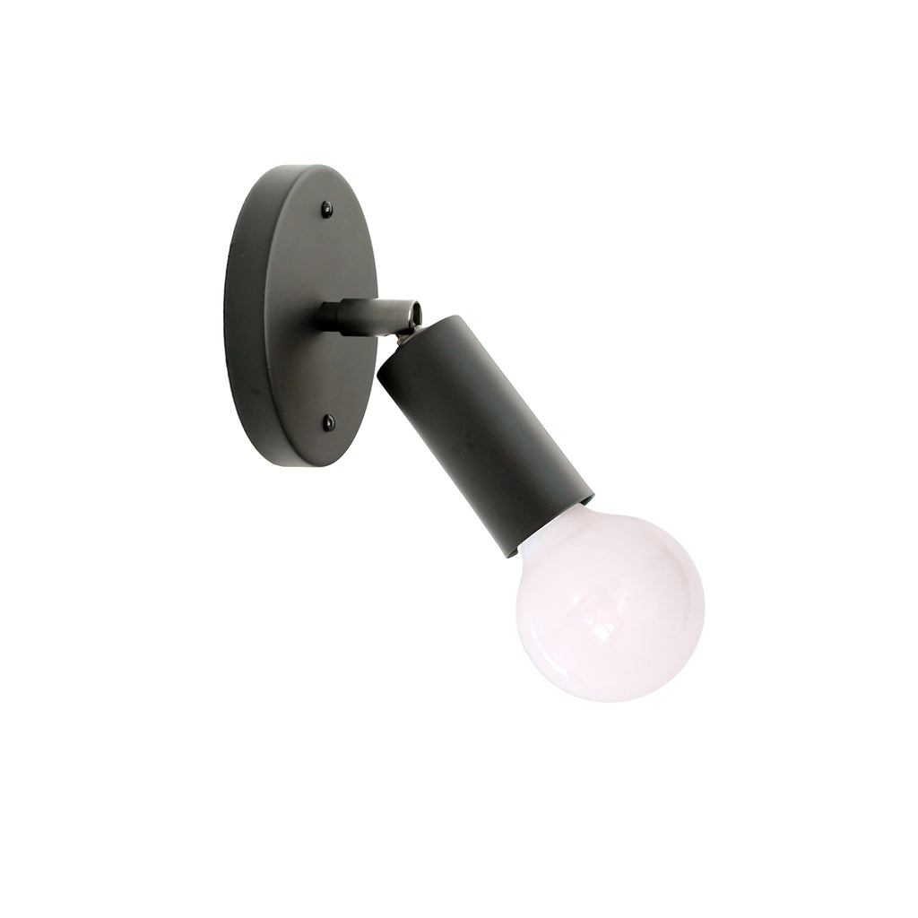 Cedar and Moss. Tilt Mini Sconce. Shown in Matte Black Finish. (G25 light bulb shown, not included).
