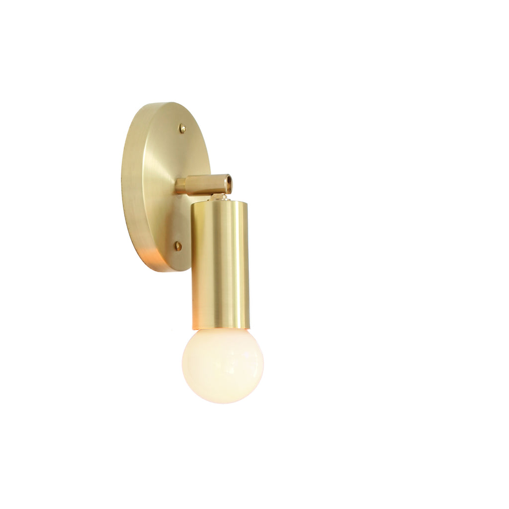 Cedar and Moss. Tilt Mini Sconce. Shown in Brass Finish. (G16.5 light bulb shown, not included).
