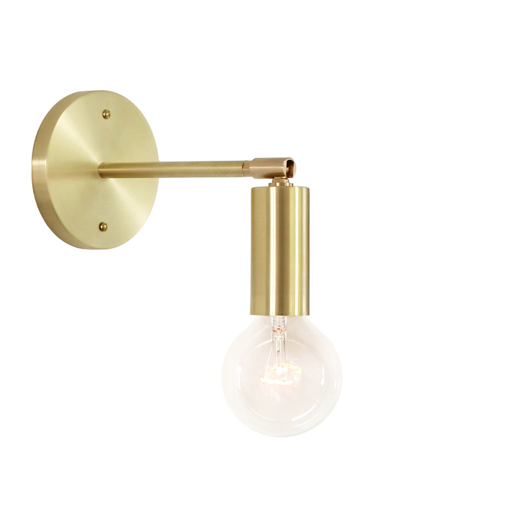 Cedar and Moss. Tilt Long Sconce. Shown in Brass Finish. (G25 light bulb shown, not included).