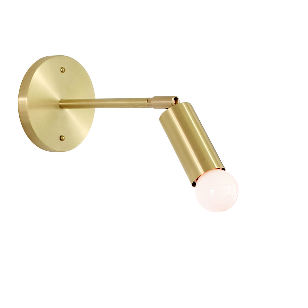 Cedar and Moss. Tilt Long Sconce. Shown in Brass Finish. (G16.5 light bulb shown, not included).