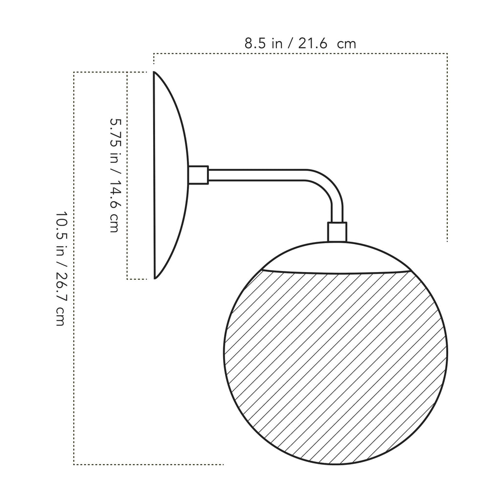 Alto Sconce 6 illustration with measurements. Cedar and Moss.