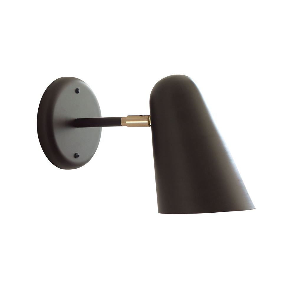 "Cedar and Moss. Wildwood Sconce. Matte black and brass detail. 3"" arm.  (A19 light bulb shown, not included)."