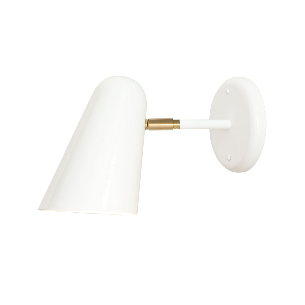 "Cedar and Moss. Wildwood Sconce. White with brass detail. 3"" arm. (A19 light bulb shown, not included)."