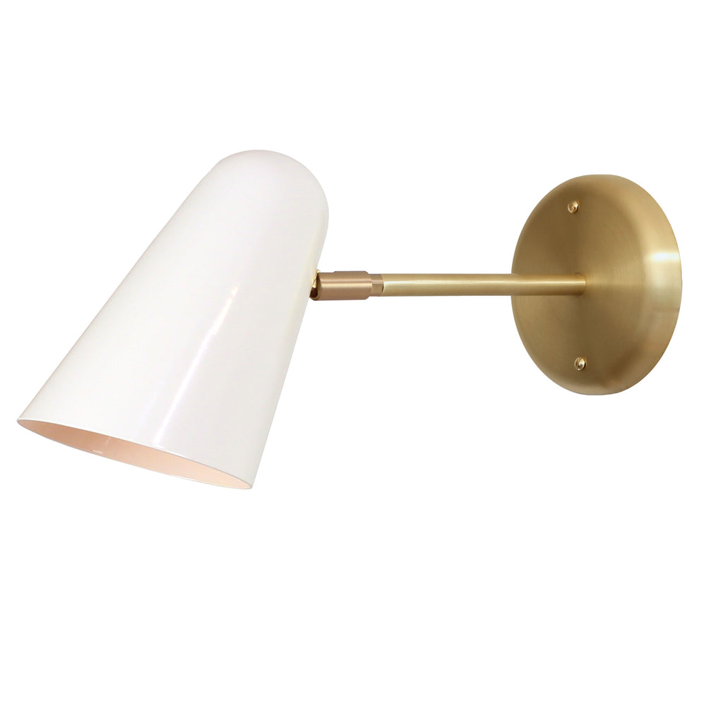 "Cedar and Moss. Wildwood Sconce. White with brass arm and canopy. 6"" arm. (G19 light bulb shown, not included)."