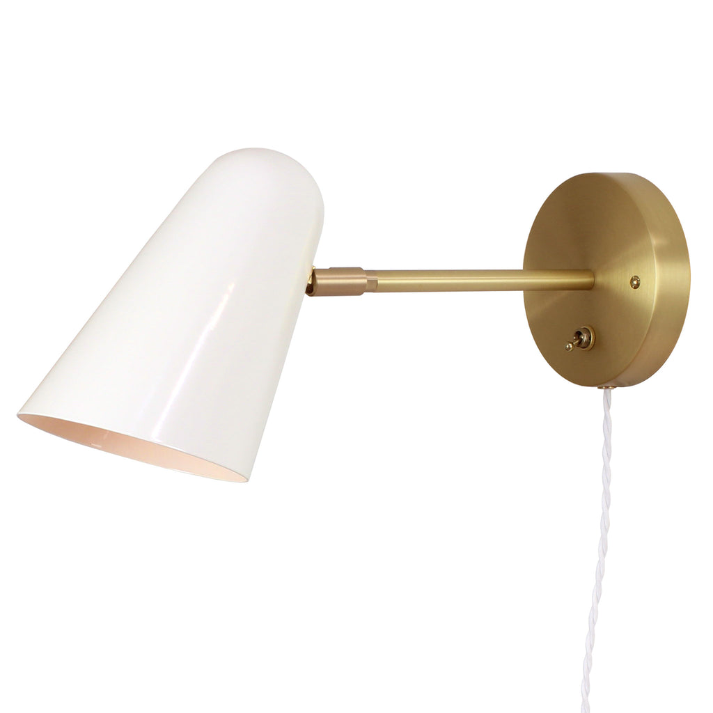 "Cedar and Moss. Wildwood Sconce. White with brass arm and canopy. 6"" arm. Customized with a brass switch and white twisted cloth cord. (G19 light bulb shown, not included)."