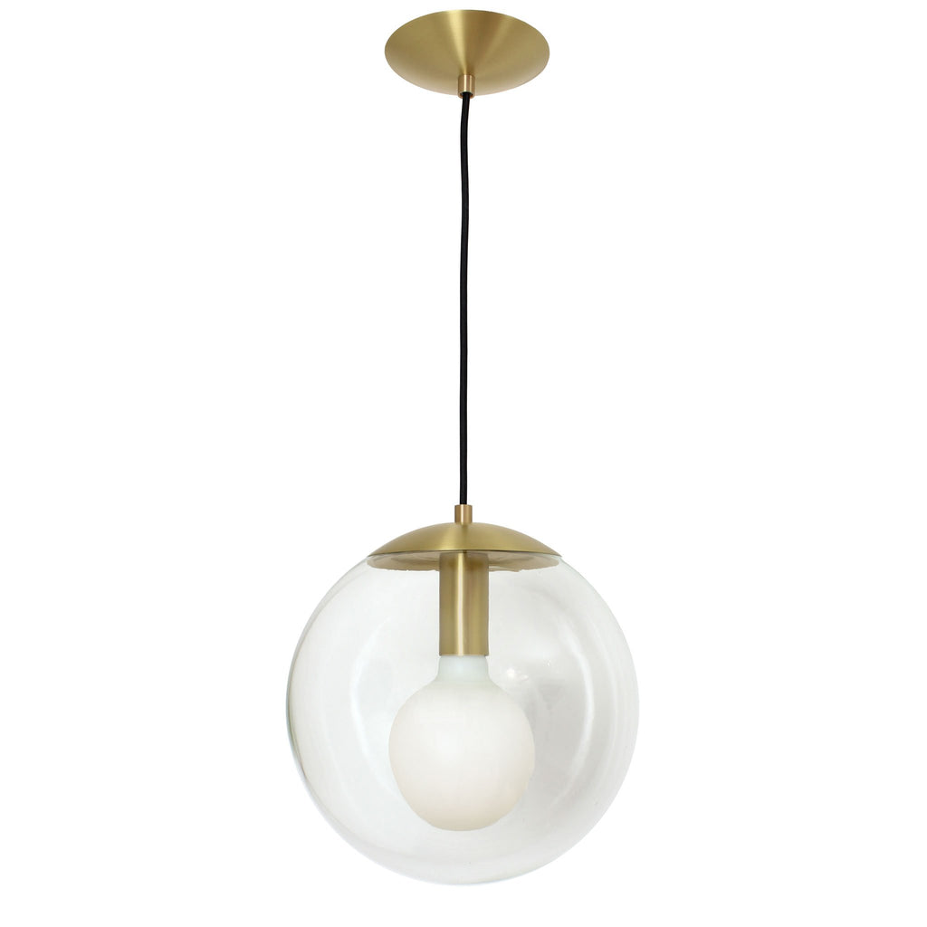 "Cedar and Moss. Alto Cord 12"" Pendant. Shown in Brass finish with 12"" Clear glass globe. (G40 light bulb shown, not included)."
