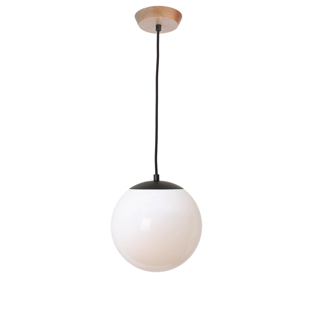 "Alto Cord Pendant with 10"" Opal Glass Globe. Shown in Matte Black finish with Maple wood canopy and Black Cloth Cord. (G25 light bulb shown, not included). Cedar and Moss."