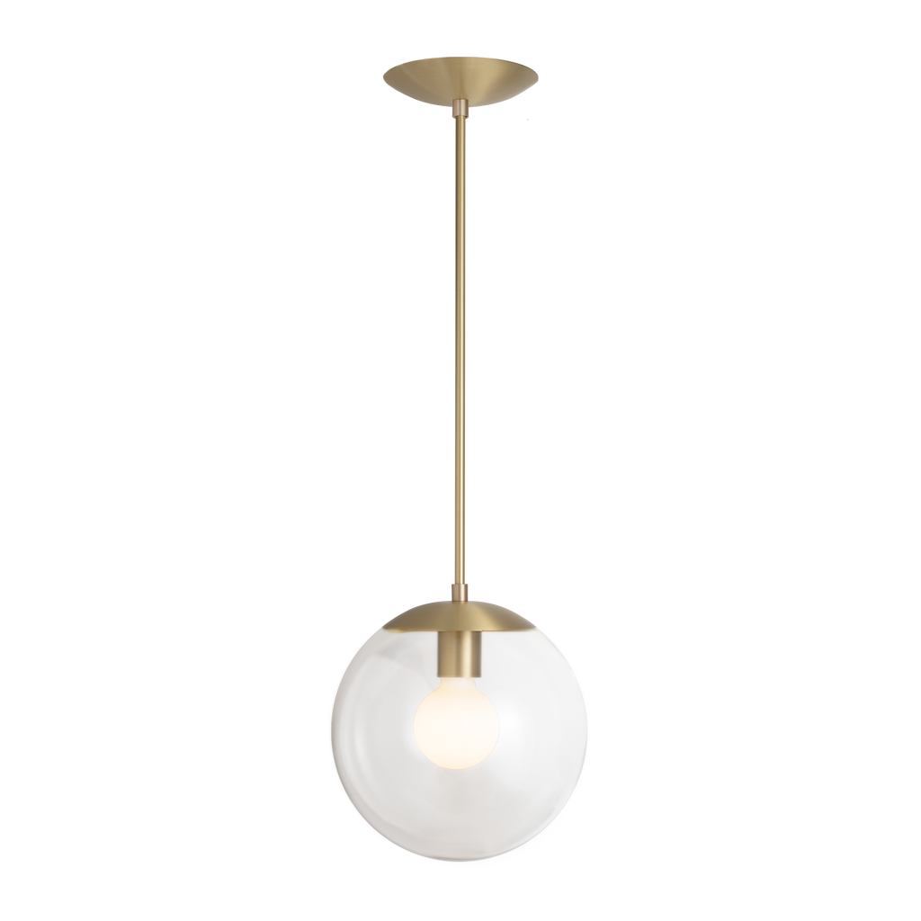 "Alto Rod Pendant. Shown in Brass Finish with 10"" Clear Glass. Cedar and Moss."