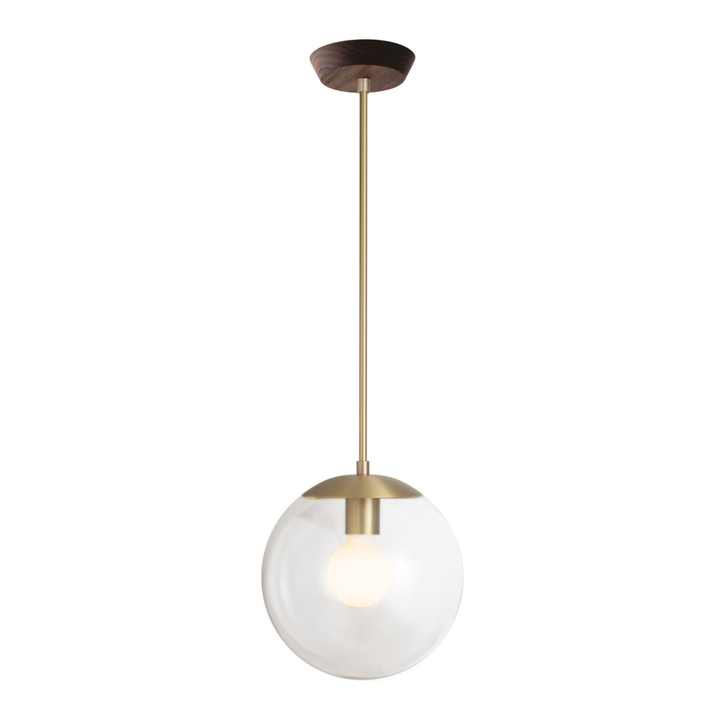 "Alto Rod Pendant with 10"" Opal Glass. Shown in Brass finish with Walnut wood canopy. (G25 Tala light bulb shown, not included). Cedar and Moss."