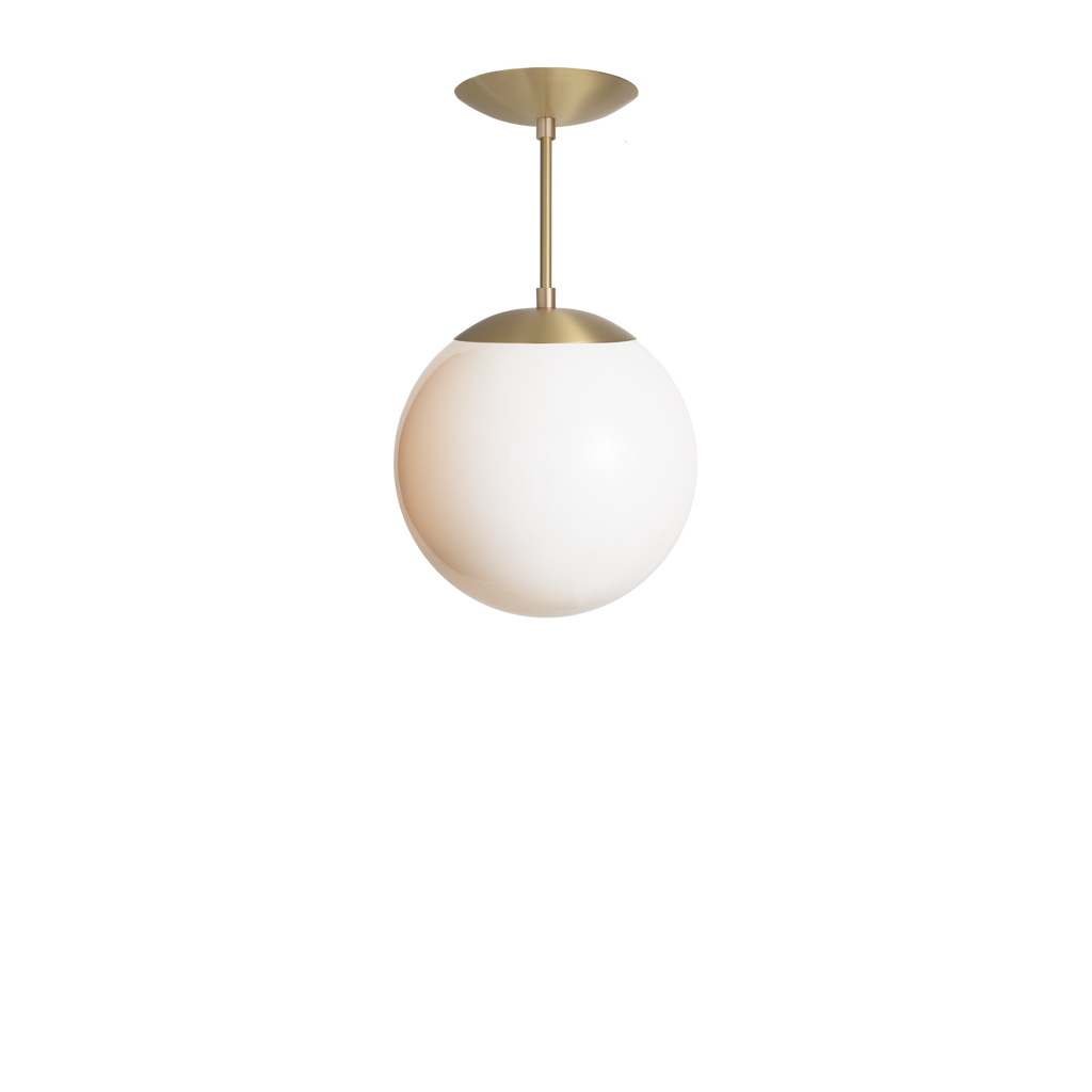 "Alto Rod Pendant. Shown in Brass Finish with 10"" Opal Glass. Cedar and Moss."