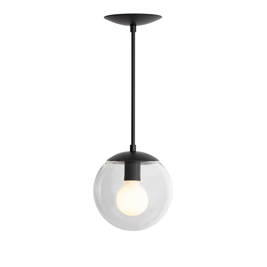 "Alto Rod Pendant. Shown in Matte Black Finish with 8"" Clear Glass. Cedar and Moss."