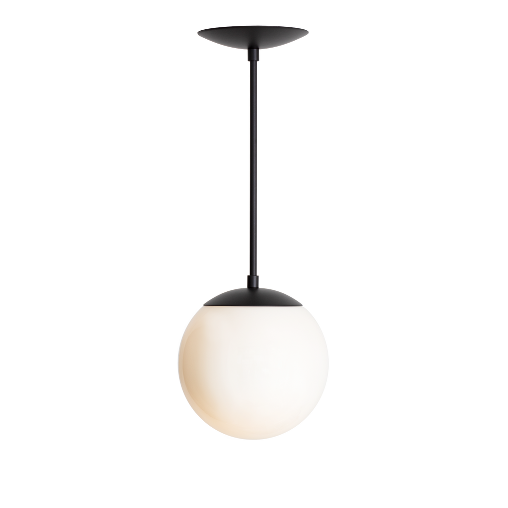 "Alto Rod Pendant. Shown in Matte Black Finish with 8"" Opal Glass. Cedar and Moss."