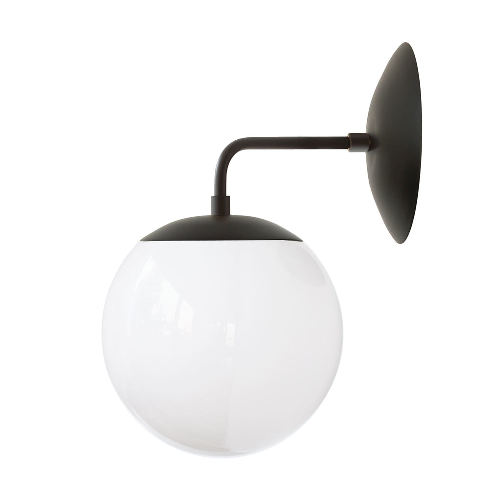 Alto Sconce 8. Shown in Matte Black with Opal Glass. (G19 light bulb shown, not included). Cedar and Moss.