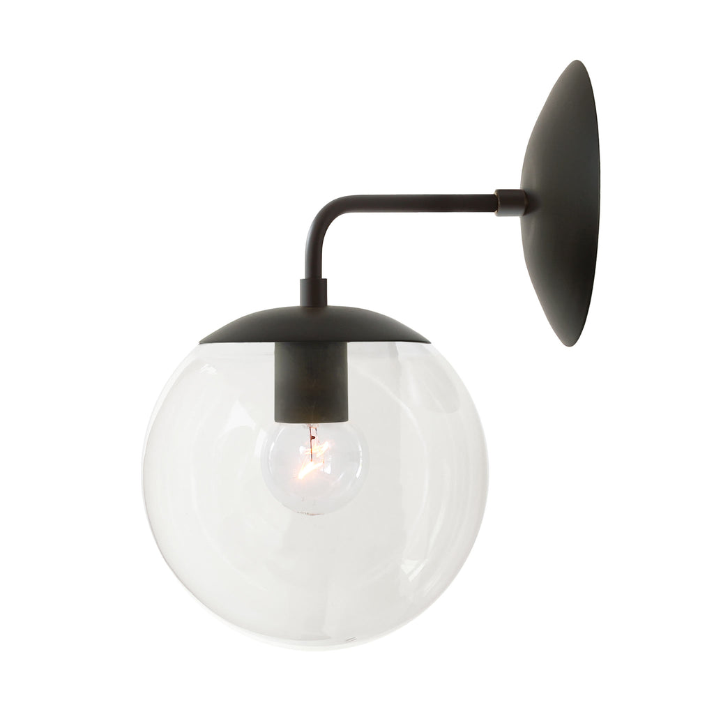 Cedar and Moss. Alto Sconce 8. Shown in Matte Black with Clear Glass. (G19 light bulb shown, not included).