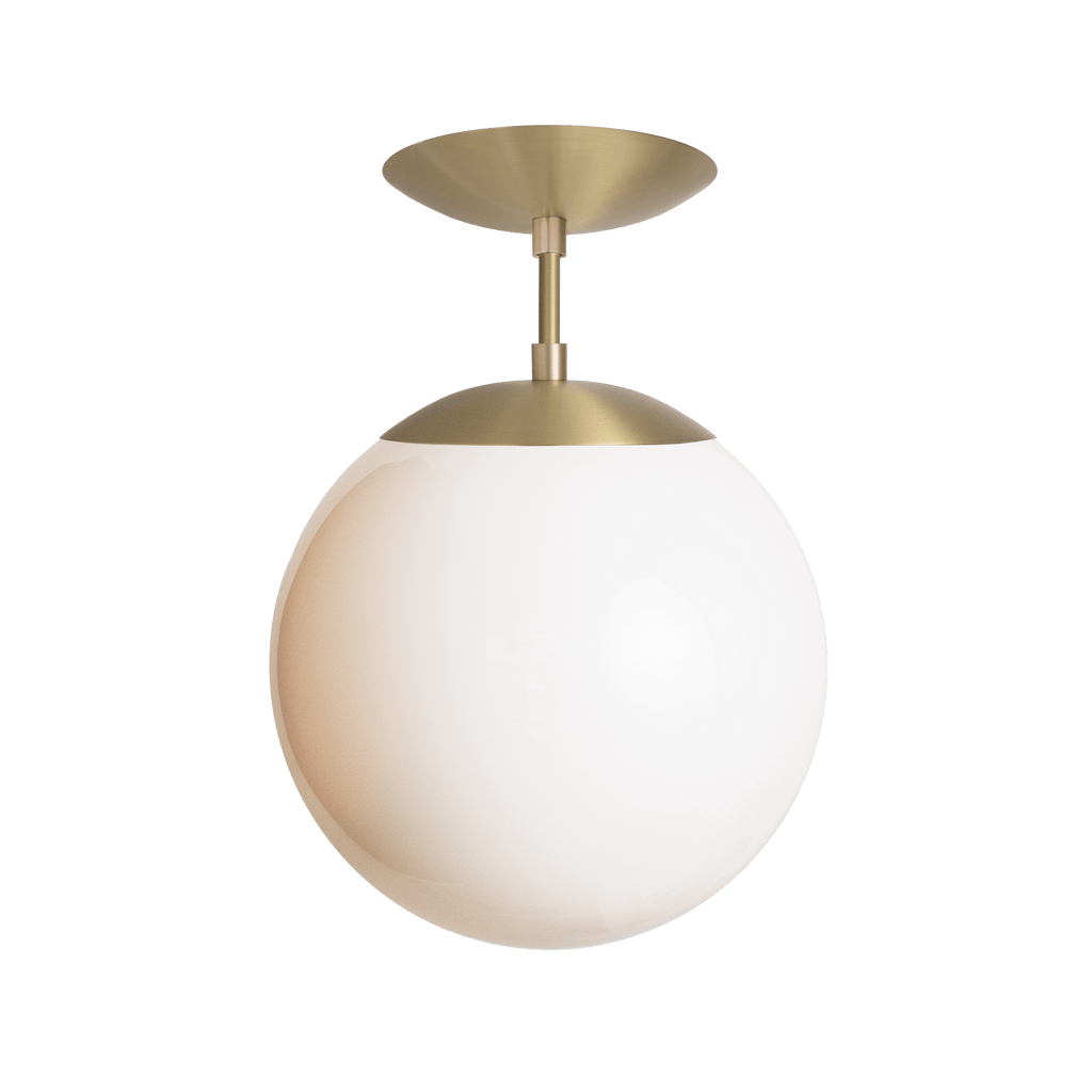 "Alto Surface with 10"" Glass Globe. Shown in Brass with Opal Glass. (G25 light bulb shown, not included). Cedar and Moss."