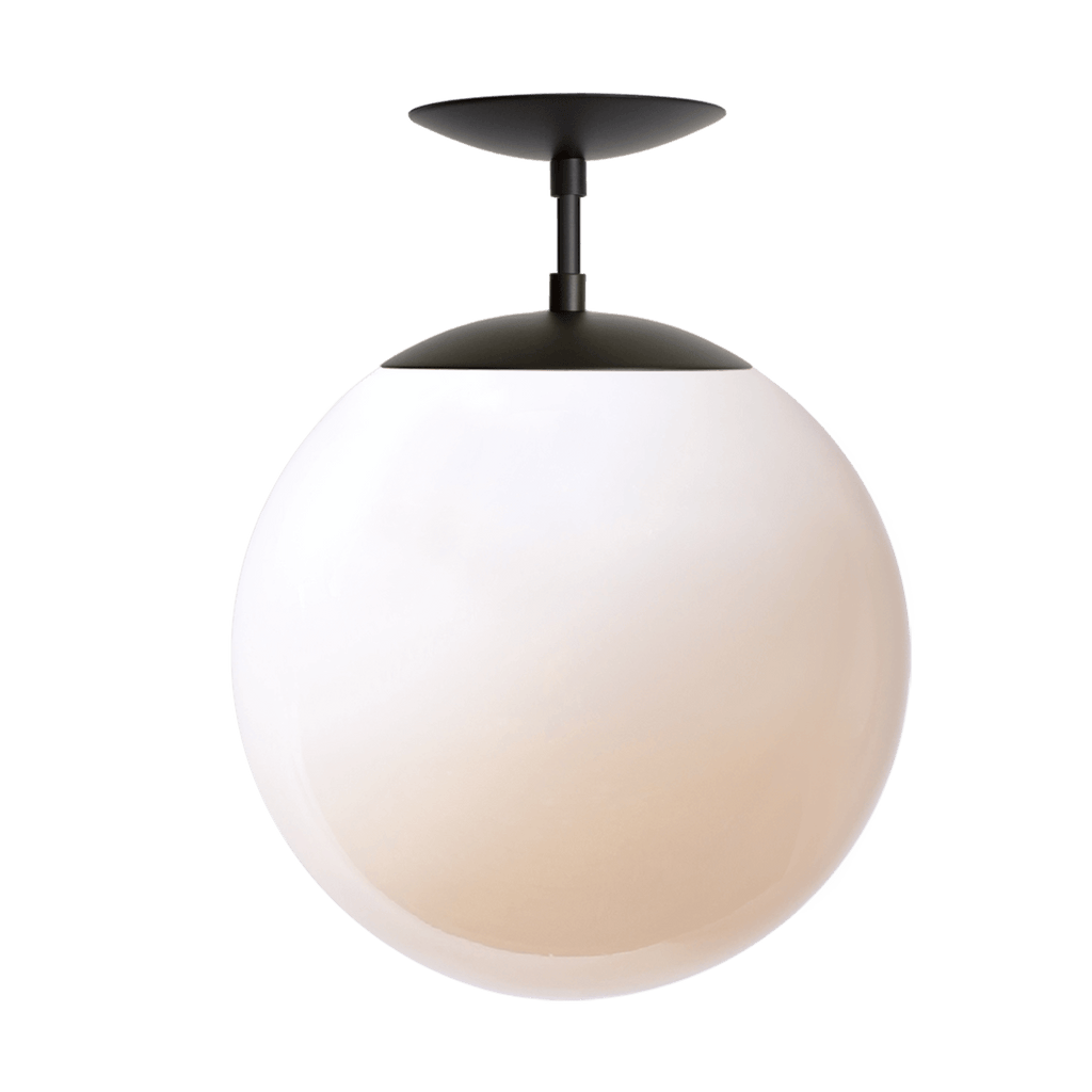 "Alto Surface with 12"" Glass Globe. Shown in Matte Black finish with Opal Glass. (G40 light bulb shown, not included). Cedar and Moss."