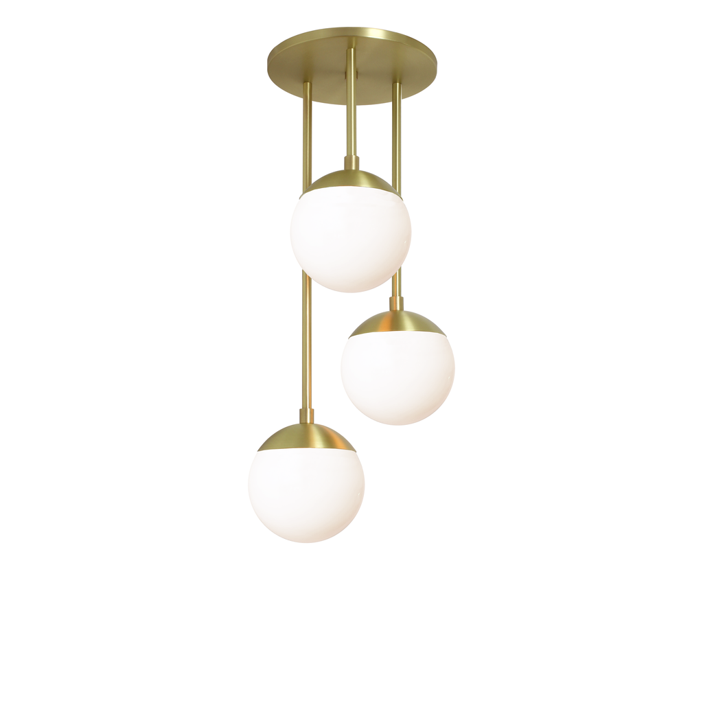 "Alto Waterfall. Shown at 25"" length in Brass finish with (3) 6"" Opal Glass Globes. (G19 light bulb shown, not included)."
