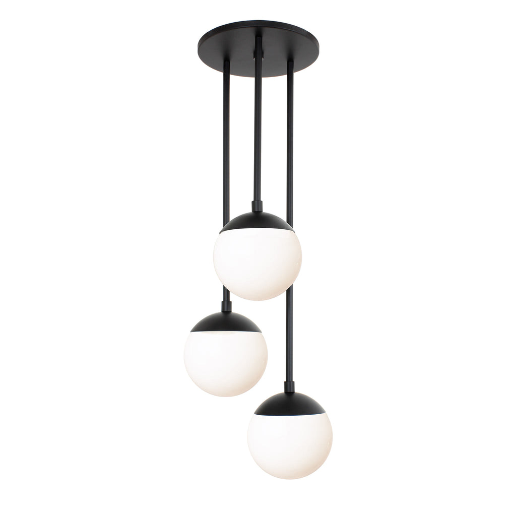 "Alto Waterfall. Shown in Matte Black finish with (3) 6"" Opal Glass Globes. (G19 light bulb shown, not included)."
