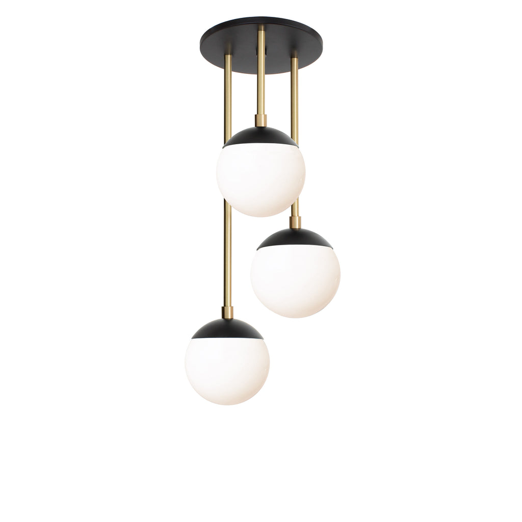 "Alto Waterfall 6"". Shown in Matte Black and Brass finish with 6"" opal glass. (G16.5 light bulbs shown, not included). Cedar and Moss."
