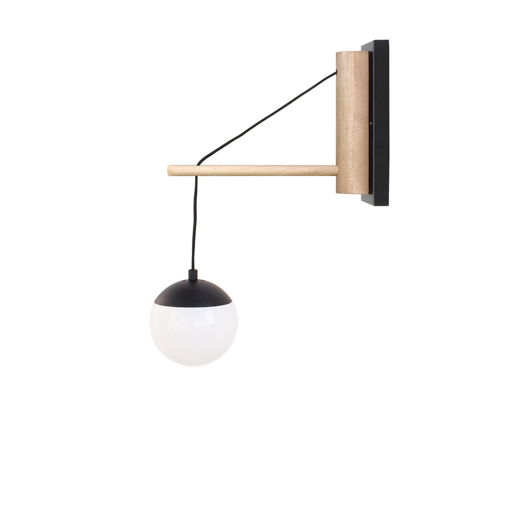 "Cedar and Moss. Alto 14"" Wood Arm Sconce Hardwired. Shown in matte black finish with birch wood and 6"" opal glass. (G16.5 bulbs shown, not included)."
