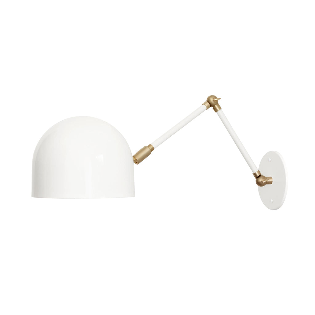 Amelie Double Articulated Sconce. Shown in Gloss White Finish with Brass Small Parts. Cedar and Moss.