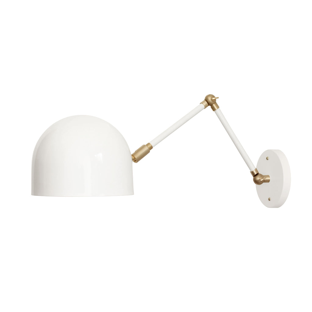 Cedar and Moss. Articulated Amelie Sconce. Shown in White Finish with Brass Small Parts.