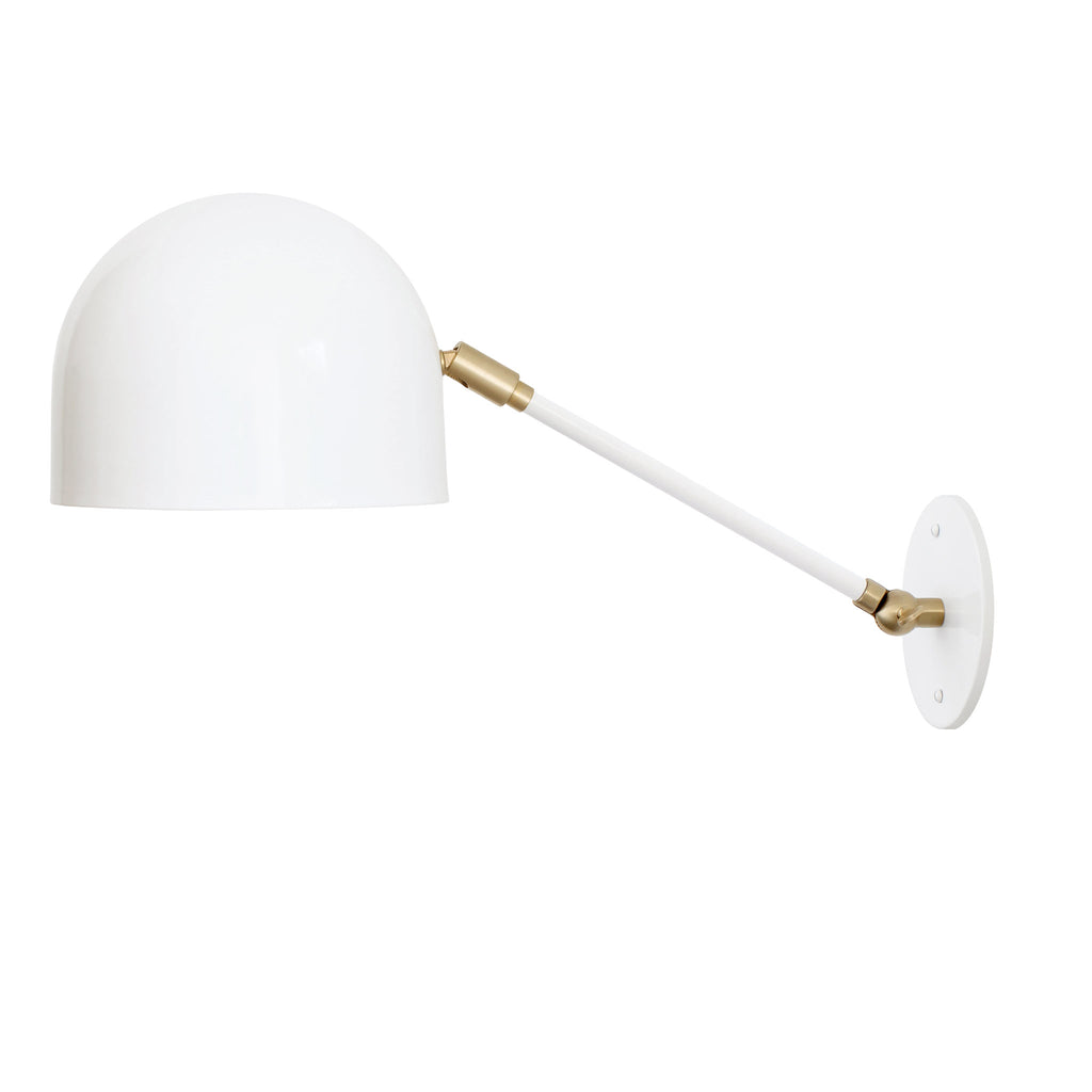 "Amelie Single Articulated Sconce. Shown in White with Brass small parts finish with 8"" arm. (G25 bulb shown, not included). Cedar and Moss."
