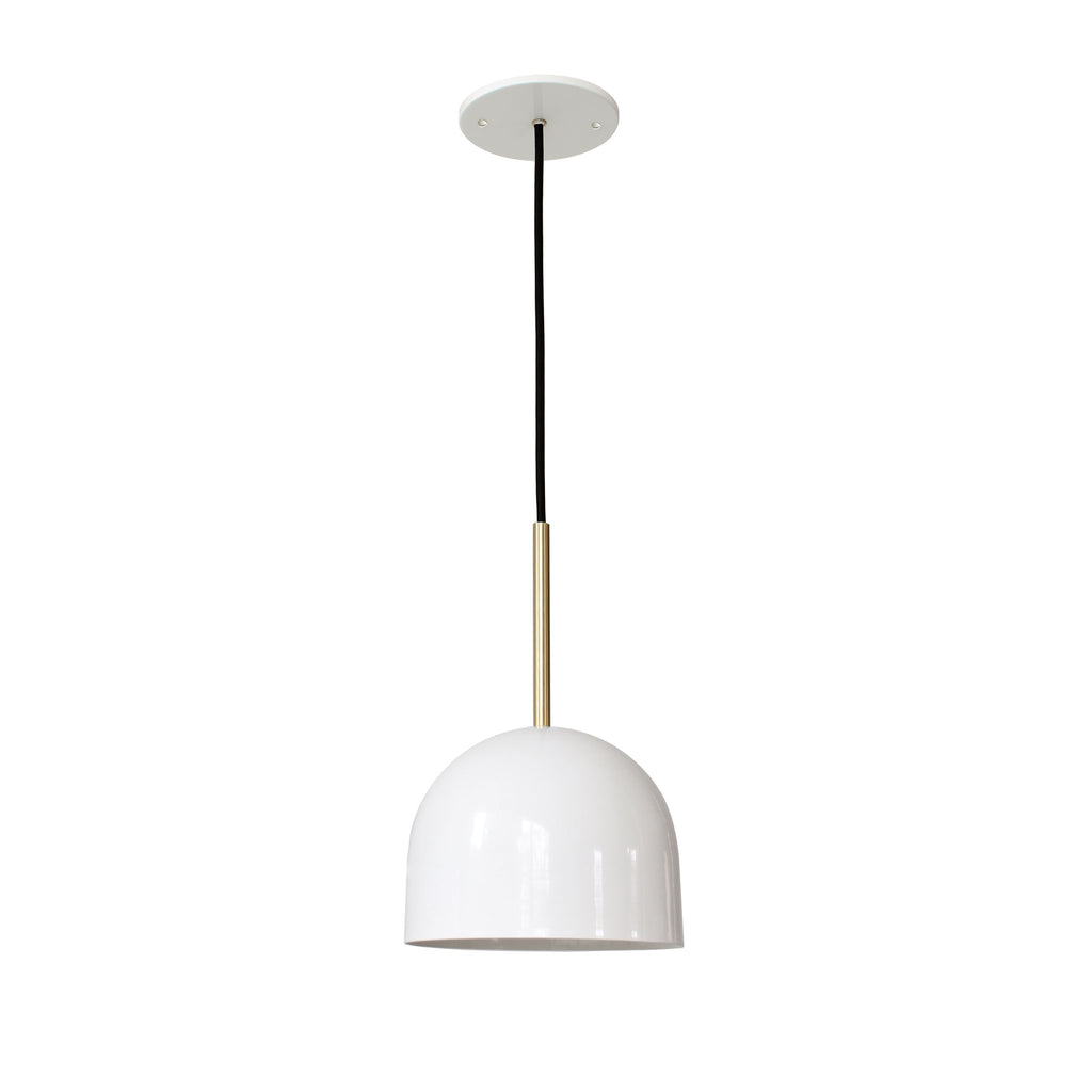"Amelie Cord 8"". Gloss white with brass rod addition. Cedar and Moss."