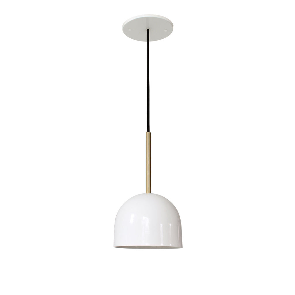 "Amelie Cord 6"". Gloss white with brass rod addition, black round cloth cord. Cedar and Moss."