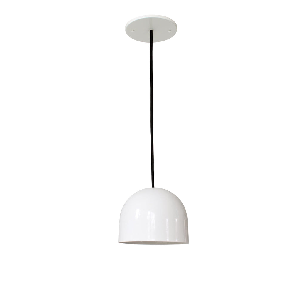 "Amelie Cord 6"". Gloss white with black round cloth cord. Cedar and Moss."