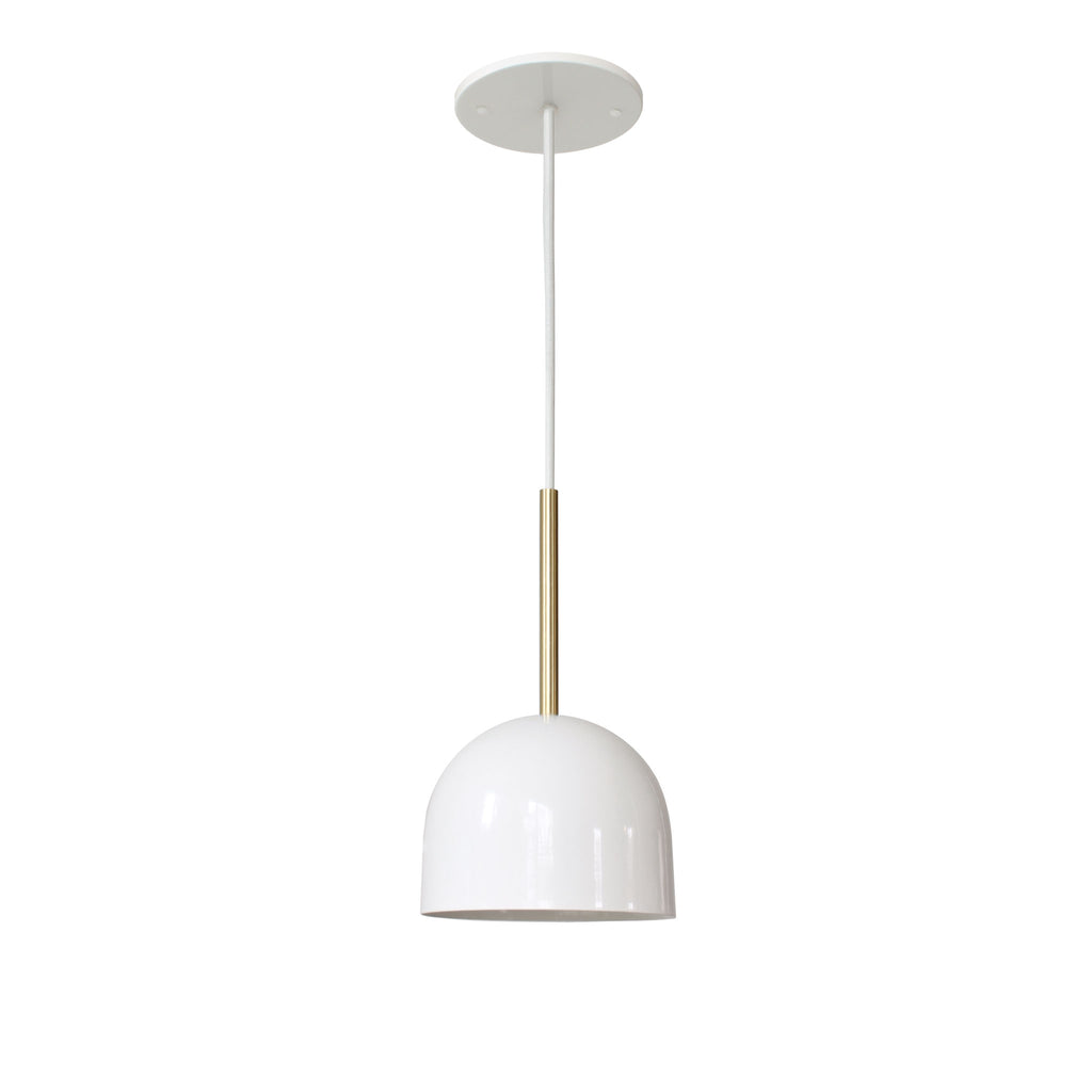 "Amelie Cord 6"". Gloss white with brass rod addition, white round cloth cord. Cedar and Moss."
