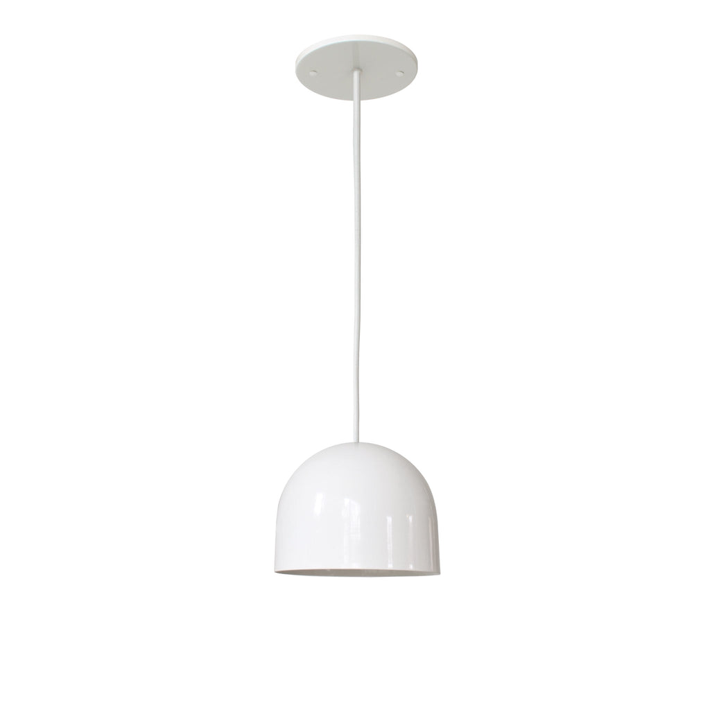 "Amelie Cord 6"". Gloss white with white round cloth cord. Cedar and Moss."