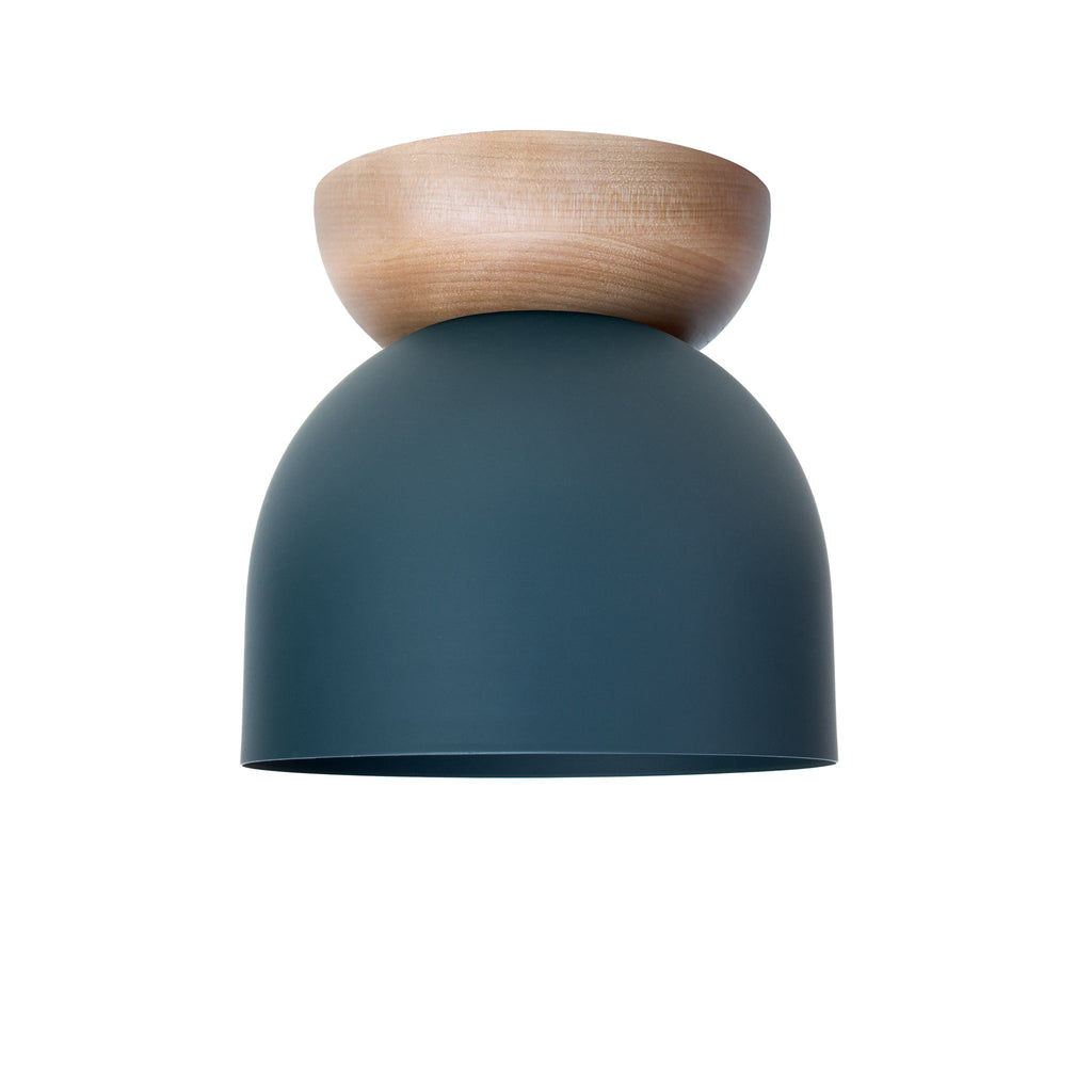 "Amelie Surface 6"". Ocean Blue finish with Birch wood canopy shown. (G19 light bulb shown, not included). Cedar and Moss."