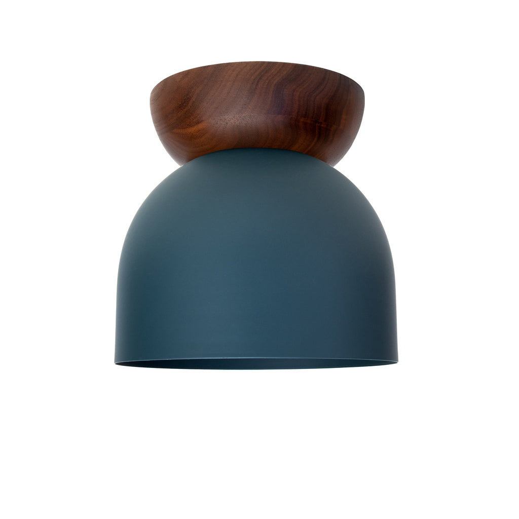 "Amelie Surface 6"". Ocean Blue finish with Walnut wood canopy shown. (G19 light bulb shown, not included). Cedar and Moss."